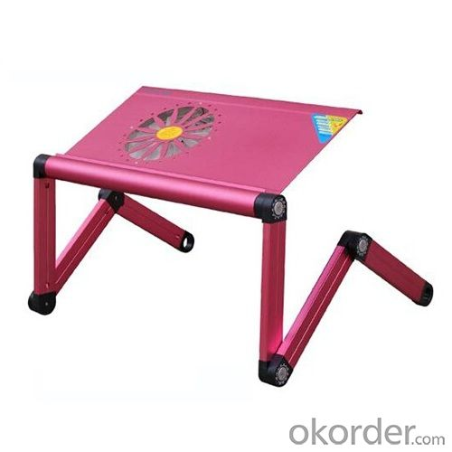 hot pink aluminum foldable laptop table with fan