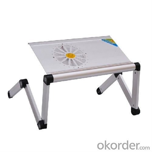 metalic folding table aluminum foldable laptop table with cooling fan