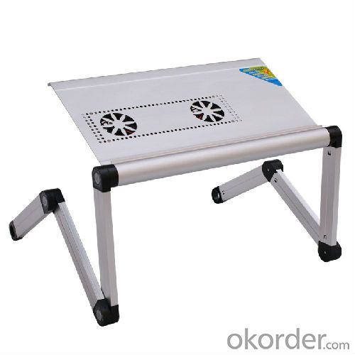 silver color aluminum folding laptop table