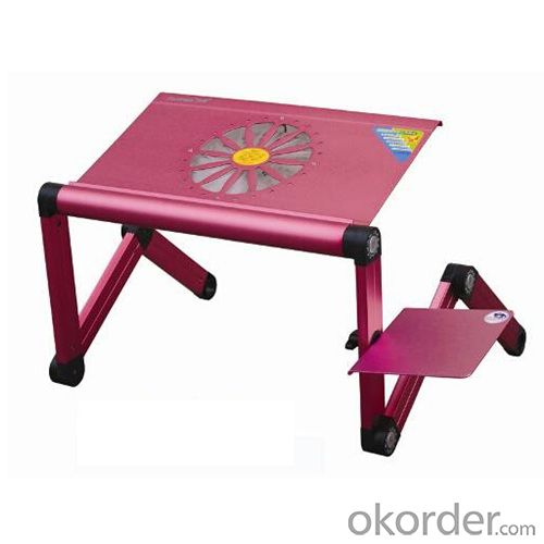 hot pink aluminum folding laptop table with mouse pad and cooling fan
