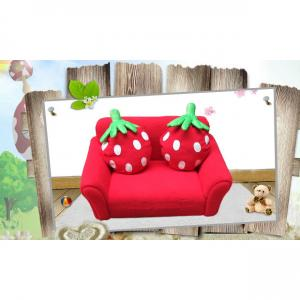 Red Children's Sofa with Two Seats Various Style Back Foldable