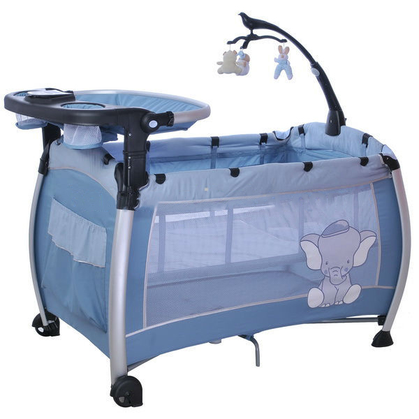 Hot Sell 3-Part Turning Canopy With Toys Baby Pram Blue