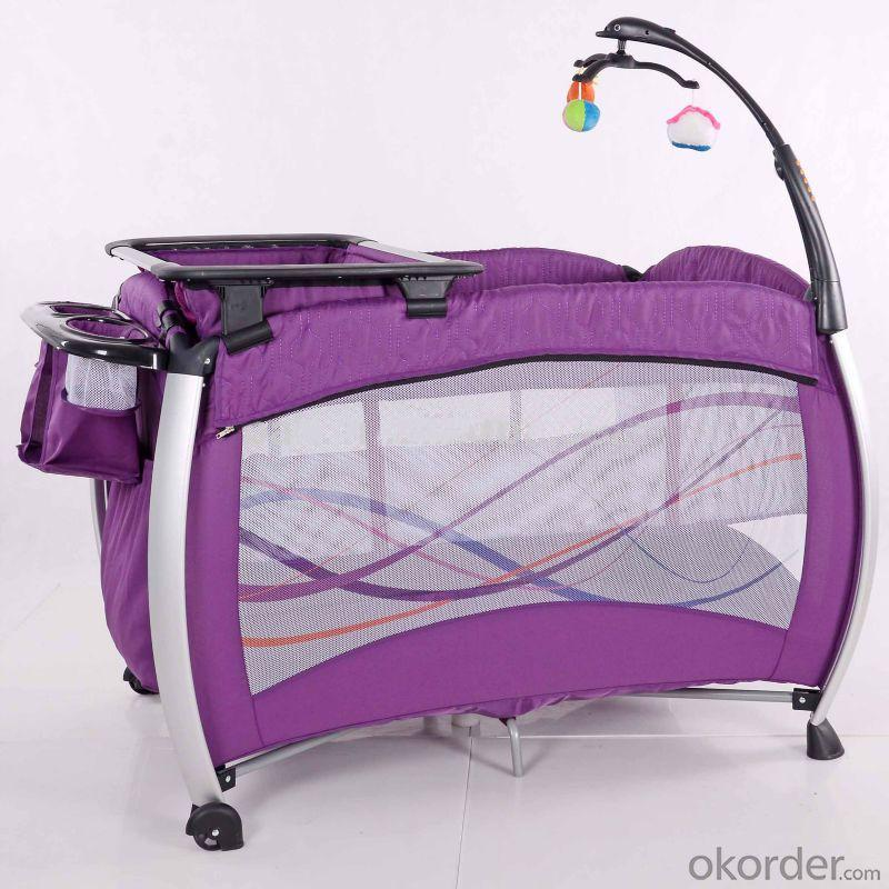 2014 New Baby Travel Cot /Play Yard/ Baby Bed With Quilting Railings Purple