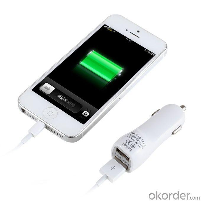 Car Charger for iPhones/Smart Phones/ipad/iTouch/MP3/MP4/E-Cigarette/Camera with Dual USB Port in Multi Colors