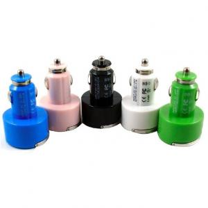 Car Charger for Smart Phones/ipad/iTouch/MP3/MP4/E-Cigarette/Camera with Dual USB Port with Ring Pull 5V