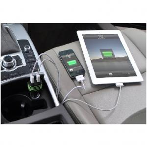 China Factory Universal 5V Dual 2 Port ABS Aluminum Ring Mini Micro USB Car Charger For iPhone 4S 5 5S iPad iPod Samsung Black