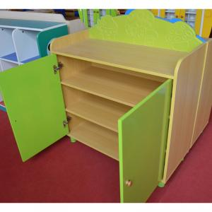 Bright Green Children's Cabinet with Two Doors Creative Design