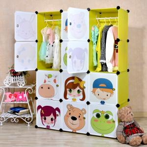 Cute Foldable Children's Cabinet Cartoon Pattern PP ABS Plastic
