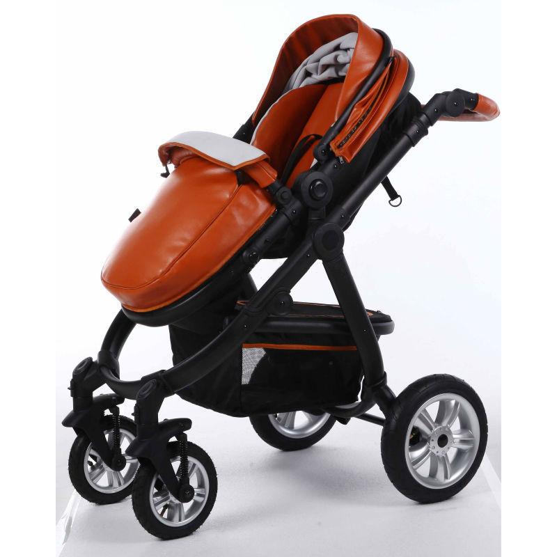 Air Wheels Aluminium 3 In 1 Leathern Baby Pram B858 Brown