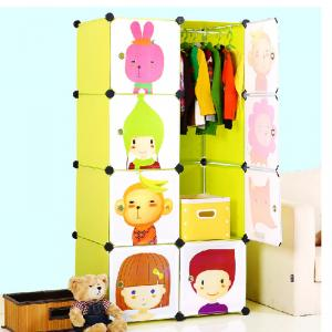 Beautiful Kids' DIY Cabinet with Grids Cartoon Style PP ABS Plastic