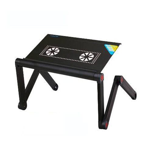 China Manufacturer Folding Laptop Table With Fan Adjustable Height Angle Children Table For Study Black