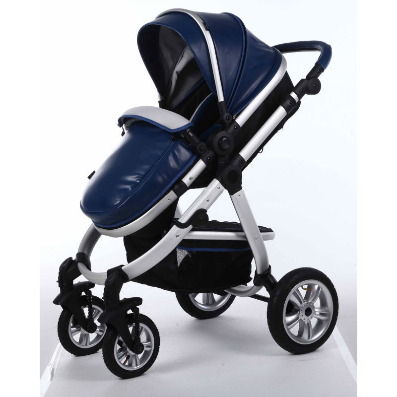 Air Wheels Aluminium 3 In 1 Leathern Baby Pram B858 Blue