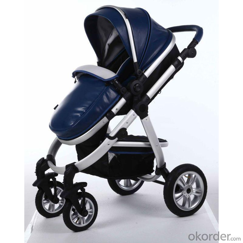 Air Wheels Aluminium 3 In 1 Leathern Baby Pram B858 Blue