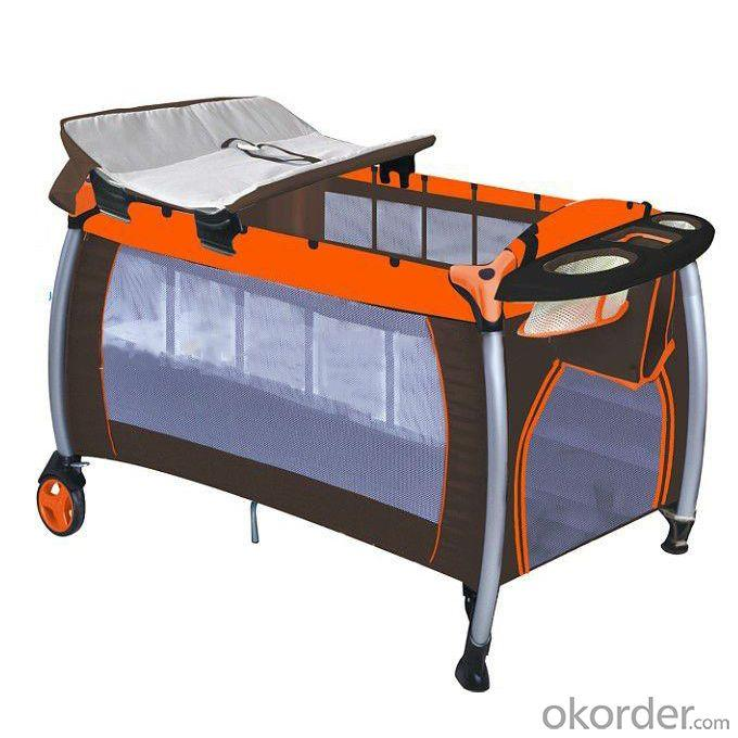 Europe Playpen With Double Layer -Khaki Orange