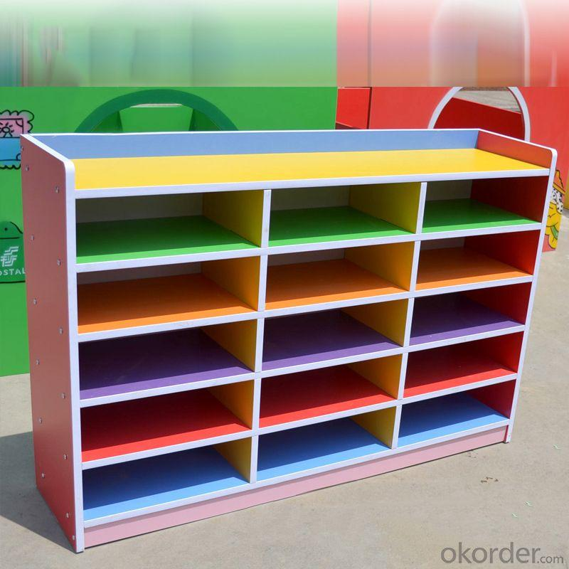 Children's Wooden Cabinet with 15 Grids for Kindergarten