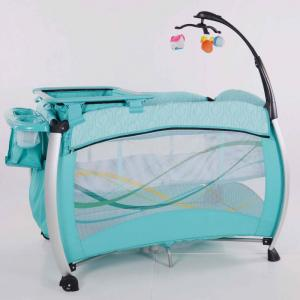 2014 New Baby Travel Cot /Play Yard/ Baby Bed With Quilting Railings Light Blue