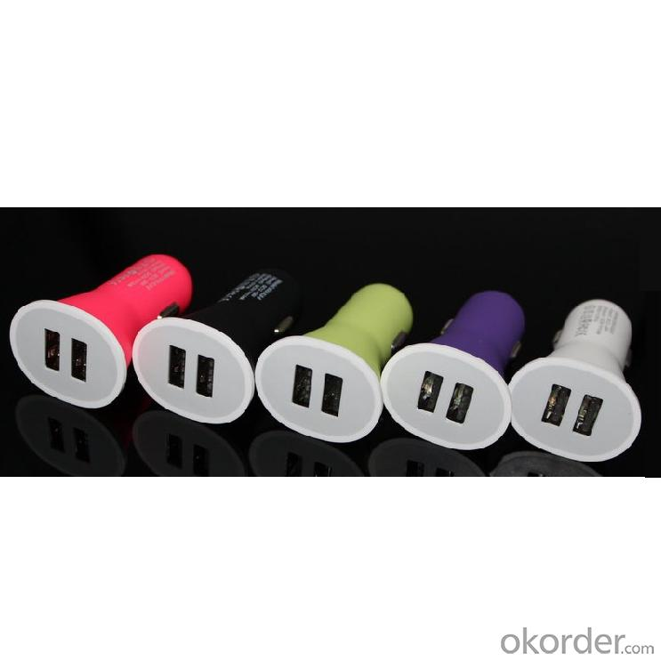 China Factory 2.1A 5V Dual 2 Port Universal Micro Mini USB Car Charger Purple Color For iPad iPhone 4 4S 5 5S iPod HTC Samsung
