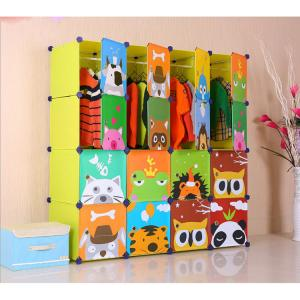 Foldable Cabinet for Children Cartoon Pattern Non-toxic PP ABS Plastic
