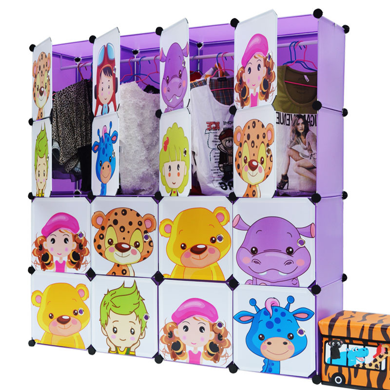 Cartoon Pattern Kids' Foldable Cabinet PP ABS Plastic Multiple Color