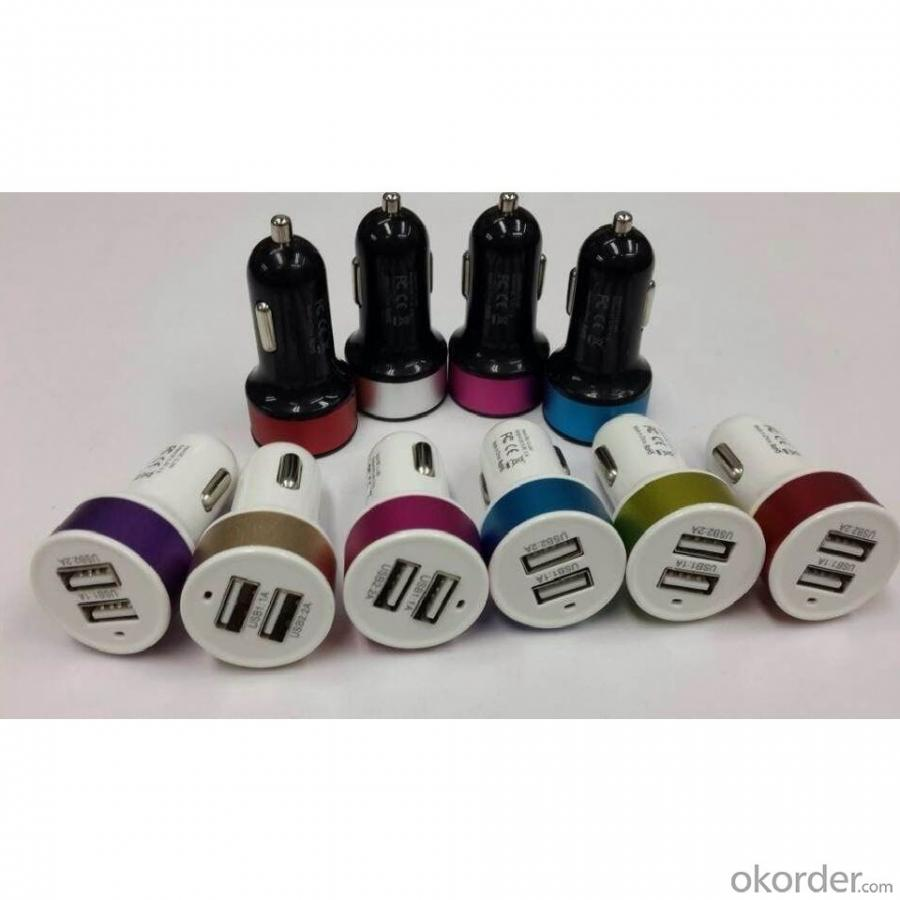 China Car Charger Factory Dual Port Universal USB Car Charger For iPhone 5 5s iPad 2 3 4 5 iPod eGo e Cigarette GPS White
