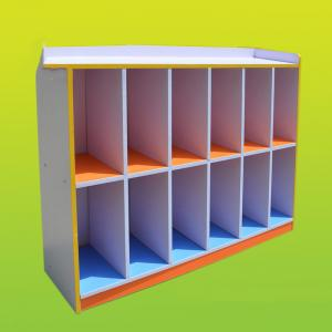 Children's Toy Cabinet with 12 Grids for Kindergarten Space-saving