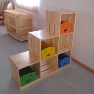 Keystone Shape Children's Wooden Cabinet with Grids Multiple Pattern