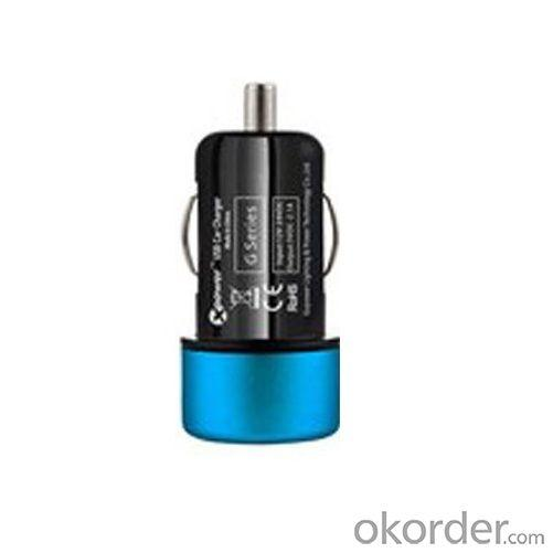 Car Charger for iPhone 5/5s/ iPad/ iPod/ Samsung/ HTC/E- Cigarette with Mini USB Port in Blue
