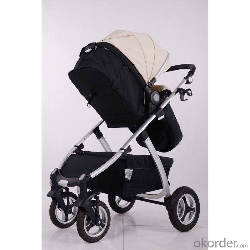 Air Wheels Aluminium 3 In 1 Leathern Baby Pram B858 White