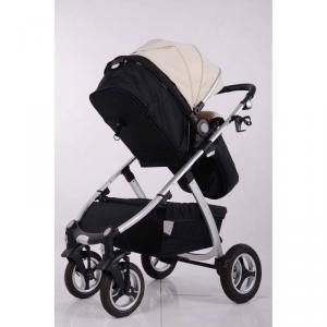 Air Wheels Aluminium 3 In 1 Leathern Baby Pram B858 White