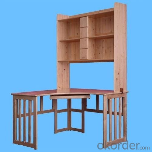 2014 New Modern Natural Solid Pine Wood Children Table With Bookcase, Natural Wood Kids Desk From China Factory
