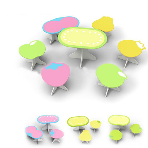 Children Preschool Furniture/Students Study Table and 6 Kids Stools in Cartoon Pattern