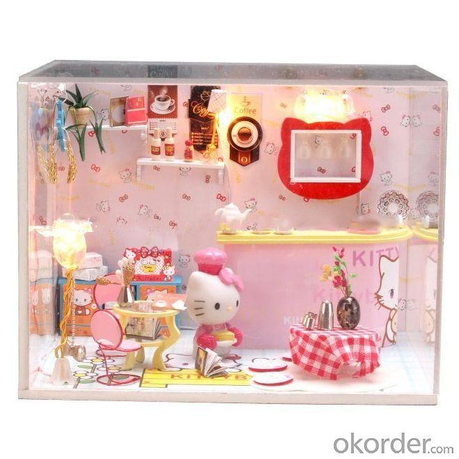 Handmade Wooden Doll House, Diy Wooden Toy House, Funny Doll House With Light