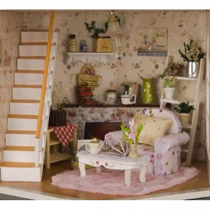 Doll House with Light and Simulation Furniture for Kids Christmas Gift