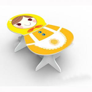 Preschool Children Table Kids Study Table and Chair Set in Russian Matryoshka Doll Cartoon Pattern