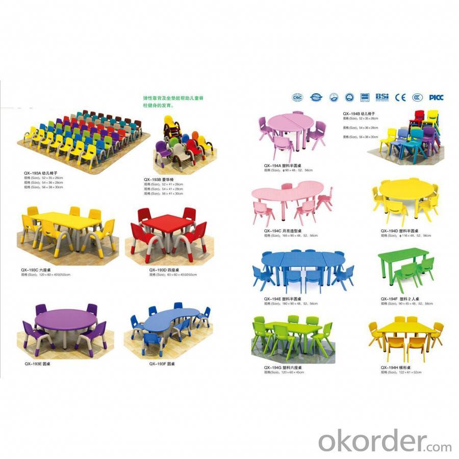 Four Seats Round Desk Pp Plastic Children'S Chairs