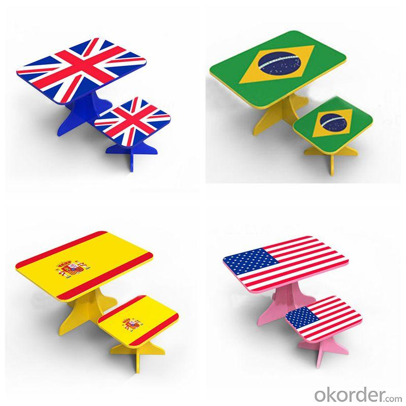 Student Study Desk Children Table Kids Study Table and Chair Set in UK Flag Design Pink