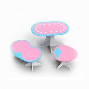 Children Table Kids Desk with Six Chairs Set for Learning and Homework in Pink