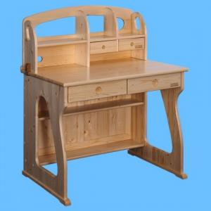 Children Computer Desk/Kids Study Table with Bookcase in Natural Solid Wood