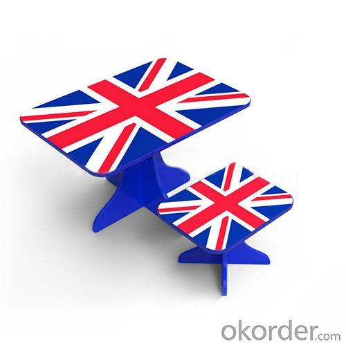 Student Study Des Children Table Kids Study Table and Chair Set in UK Flag Design Blue