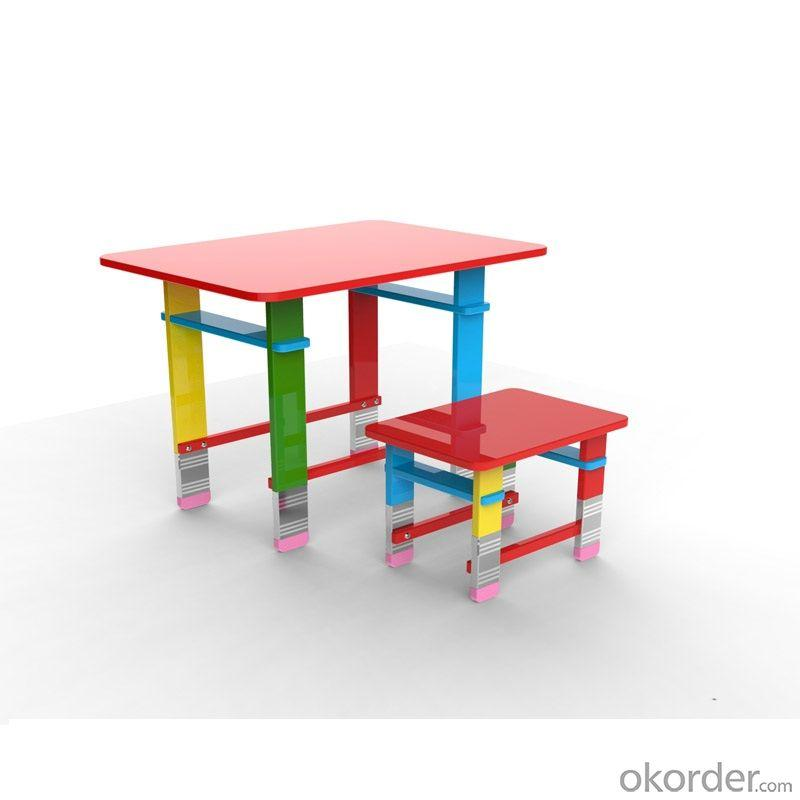 Children Table Preschool Students Desk and One Stool Set Colorful Pencil Cartoon