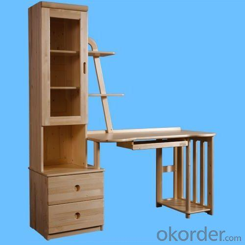 Durable Children Computer Desk/Kids Study Table with Bookcase in Natural Solid Wood