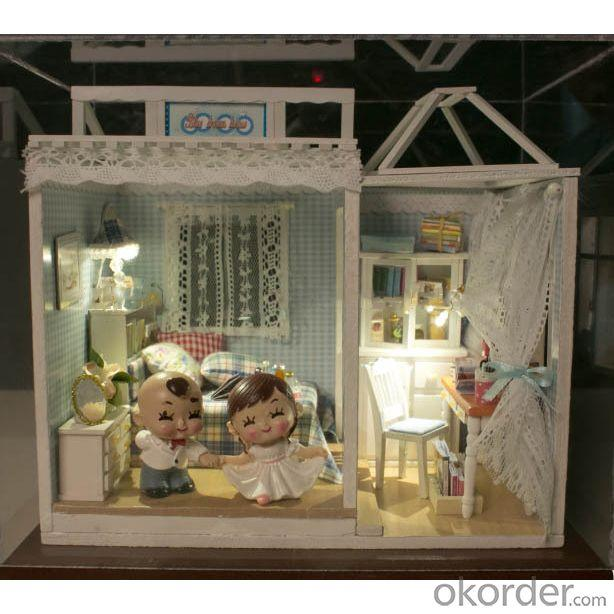 DIY Wooden Doll House with Light Sweet Style Mini Toy House for Kids Gift