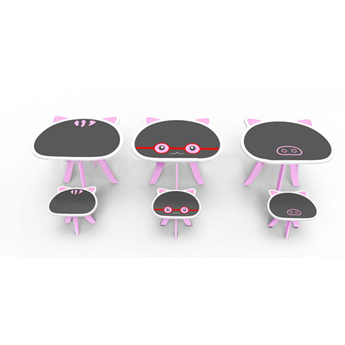 Children Table Kids Table with One Chair Set in Pink Cartoon Cat Shape