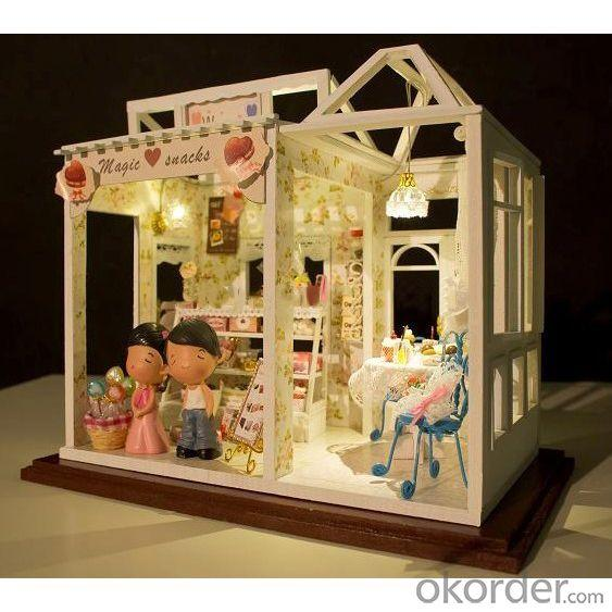 DIY Wooden House Doll House with Lights and Simulation Furniture
