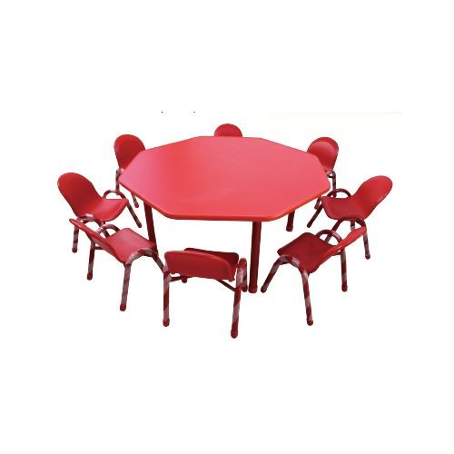 Anise Shape Table Adjustable Children Desk And Chair With Eight Seats