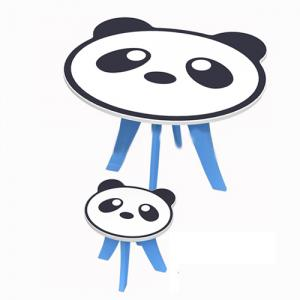 Children Table Preschool Students Desk with One Chair Cartoon Panda