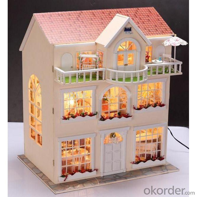 Handmade Wooden Doll House Adult DIY Wooden Toy House with Light