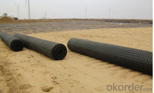 High Quality Bitumen Coated (30KN*30KN-200KN*120KN) Black Fiberglass Geogrid for Road Construction