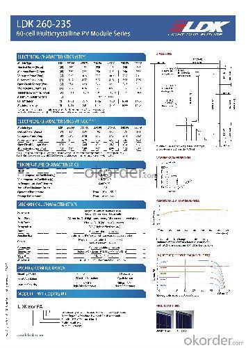 LDK 60-cell MULTI MODULE 260W Entire Module Certified CE UL TUV