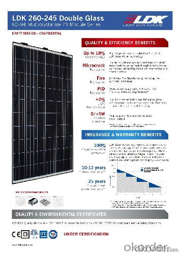 LDK 60-CELL DOUBLE GLASS SOLAR MODULE 250W MULTI High Efficiency